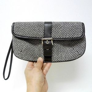 Banana Republic wool and cow leather wristlet